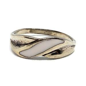 Sterling Silver White Enamel Braid Pinky Ring